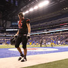 JAY YOUNG   THE GOSHEN NEWS <br /> NorthWood senior Caleb Newcomer (62) walks off the field following the 4A state championship game Friday afternoon at Lucas Oil Stadium in Indianapolis.