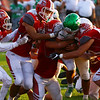 JAY YOUNG   THE GOSHEN NEWS<br /> Concord High School senior running back Jack Lietzan drags a pack of Goshen High School defenders with him as he scores a touchdown during their game Friday night at GHS.