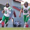 Northridge Raiders wide receiver Mason Puckett (2) runs the ball during the game at NorthWood High School in Nappanee.