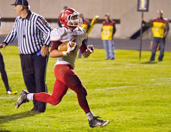 SAM HOUSEHOLDER | THE GOSHEN NEWS<br /> Goshen junior Dylan Back runs in for a touchdown during the sectional game against Fort Wayne Snider Friday.