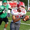 CHAD WEAVER   THE GOSHEN NEWS<br /> Goshen wide receiver Brandon Holley turns up field after making a catch during the first quarter of Friday night's game at Concord.