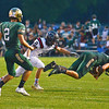 HALEY WARD | THE GOSHEN NEWS<br /> Wawasee Gavin Barker dives on the loose ball during a punt intended for NorthWood wide receiver Landen Gessinger as Wawasee wide receiver Dylan Hepler-Fink watches Friday at Wawasee High School.