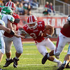 JAY YOUNG   THE GOSHEN NEWS<br /> Goshen High School senior running back Liam Morales (34) cuts through a hole in the Concord High School defensive line during their game Friday night at GHS.