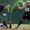 Dara Toman tags out Brittany Ritter of Pickerington Central during the district final on Wednesday at Pickerington Central.