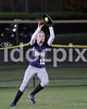 SSS's Emily Blackman (12) makes the catch on Clayton's Briana Morgan's long 5th inning hit.  Clayton won the Greater Neuse River conference game 14-1 over SSS played in Smithfield on Tuesday night