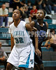 West's  Shay King (32) boxes out Clayton's Jasmine Dixon (23) during a free throw attempt. The Clayton girls won the Greater Neuse River Conference game 74-43 held at West Johnston High School on February 7, 2012. Photo by Dean Strickland OD.