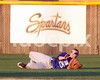 Clayton right fielder Corey Shirk (25) makes a sliding catch in the 1st inning to prevent a 1st inning hit.  Clayton won the Greater Neuse River conference game 3-1 over SSS played in Smithfield on Tuesday night.