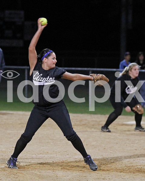 Clayton's Briana Morgan (33) comes in to relieve starter Nicole Bond and finish out the game.  Clayton won the Greater Neuse River conference game 14-1 over SSS played in Smithfield on Tuesday night.