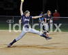 SSS pitcher Rachel Moore (9) winds up to deliver this 5th inning pitch.  Clayton won the Greater Neuse River conference game 14-1 over SSS played in Smithfield on Tuesday night.