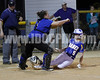 GHS's Cheyenne Champion (5) scores the go-ahead run as CHS catcher Laura Shively awaits the throw .