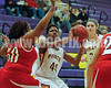 Franklinton's Canitria Cooke (50) tries to stop Corinth's Sam Gibson (44) shot.
