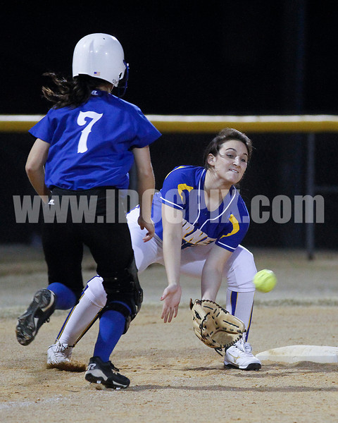 Garner 3B Amanda Humes (r is it Hulmes?) the double play on CHS's Kayla North (7) to end the inning and foil an excellent scroing opportunity.