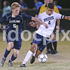 Cleveland's Tanner Costine (5) and Smithfield-Selma's J Ventura (4) battle for control of the ball in the midfield. Cleveland defeated Smithfield-Selma 2-1 to clinch the Two Rivers Conference regular season title played in Smithfield, N.C. on Thursday, October 29, 2015.