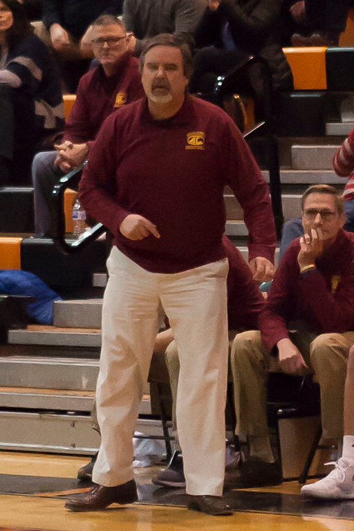 . Jen Forbus - The Morning Journal<br> Avon Lake coach Eric Smith instructs the Shoremen from the bench against Normandy on Jan. 2.