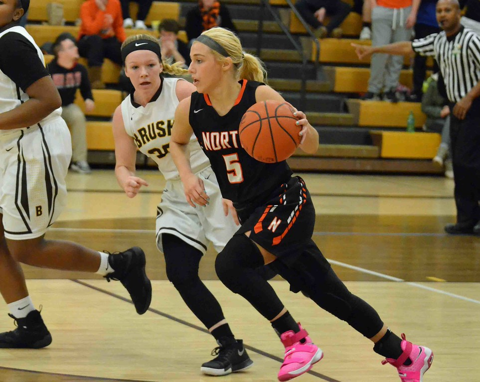 . Paul DiCicco - The News-Herald  North�s Ally Lako dribbles past several Brush Arcs on her way to the basket.