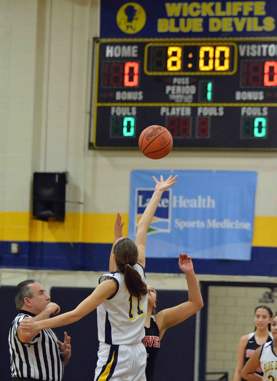. Paul DiCicco - The News-Herald  Opening tip, Wickliffe Blue Devils hosting the Harvey Red Raiders on Jan 11.