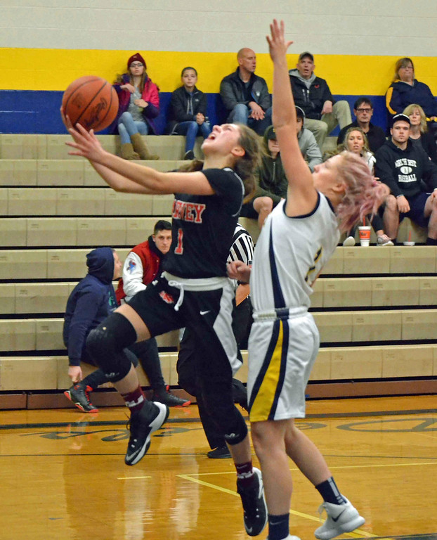 . Paul DiCicco - The News-Herald Harvey senior Jullian Hach drives to the basket against Wickliffe\'s Hannah Levon on Jan 13.