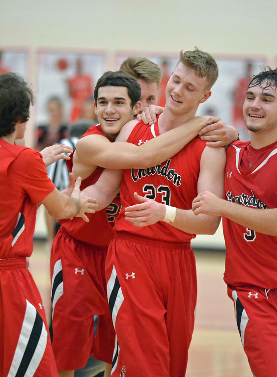 . Paul DiCicco - The News-Herald Chardon\'s Alex Sulka isn congratulated after becoming the Hilltoppers\' all-time leading scorer on Jan. 13. Sulka finished with 25 points, and has 1,224 for his career.