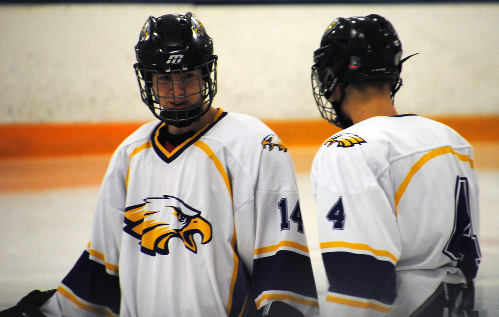 . Jon Behm - The Morning Journal<br> Avon\'s Tyler Zajankala (14) and Christopher Reitmann talk prior to the third period against Lakewood during a Southwestern Conference Tournament first round game on Jan. 13.