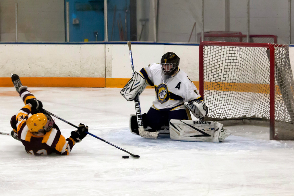 . Jen Forbus - The Morning Journal<br> Avon Lake\'s Timothy Lubertozzi slides in for a shot at goal against Olmsted Falls goalie Angelo Hanson on Jan. 14.