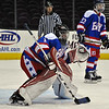 Jon Behm - The Morning Journal<br /> Bay goalie Spencer O'Connell prepares for a shot during the second period against Olmsted Falls on Jan. 20 at Quicken Loans Arena. O'Connell made 39 saves in the Rockets' victory.