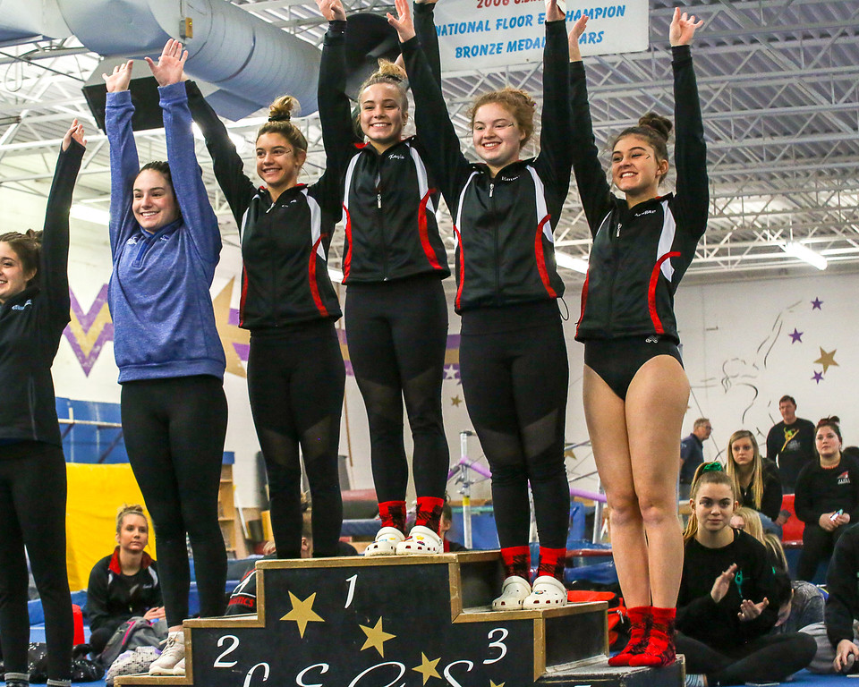 . Coleen Moskowitz - The News-Herald The beam winners at the Western Reserve Conference gymnastics meet on Jan. 21.