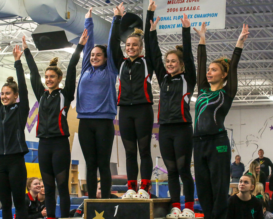 . Coleen Moskowitz - The News-Herald The all-around winners at the Western Reserve Conference gymnastics meet on Jan. 21.