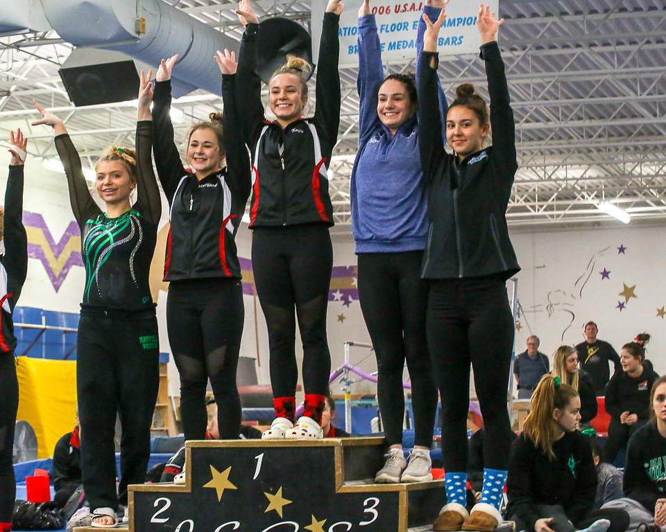 . Coleen Moskowitz - The News-Herald The floor exercise winners at the Western Reserve Conference gymnastics meet on Jan. 21.