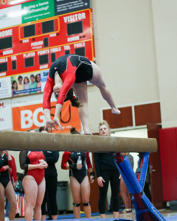 . Coleen Moskowitz - The News-Herald Miranda Butterfield of Mentor on the beam during the Rock n\' Roll Classic on Jan. 21 at Brecksville-Broadview Heights.