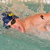 Paul DiCicco - The News-Herald<br /> Kirtland High School Boys 100 yard Freestyle swimmer, Matt Stipkovich, competes at the CVC Swimming and Diving Meet on Jan 21.
