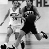 Jaimie Galgoczy of North and Mayfield's Tina Manocchio of Mayfield in January 1993.