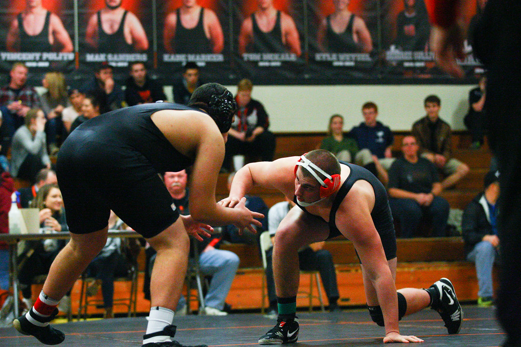 . David Turben - The News-Herald 2017 - Wrestling OHSAA Team Tournament - Newbury.  220 lbs Class - Newbury\'s Kade Marker faces off against Liberty\'s Mohanned Yusuf.  Marker won on an injury default by Yusuf.