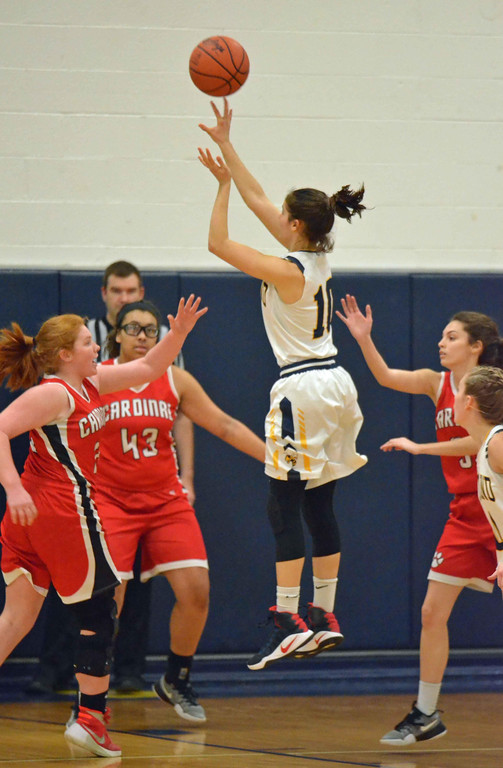 . Paul DiCicco - The News-Herald Kirtland\'s Jenna Sayle releases a jump shot early in the game against Cardinal on Jan 27.