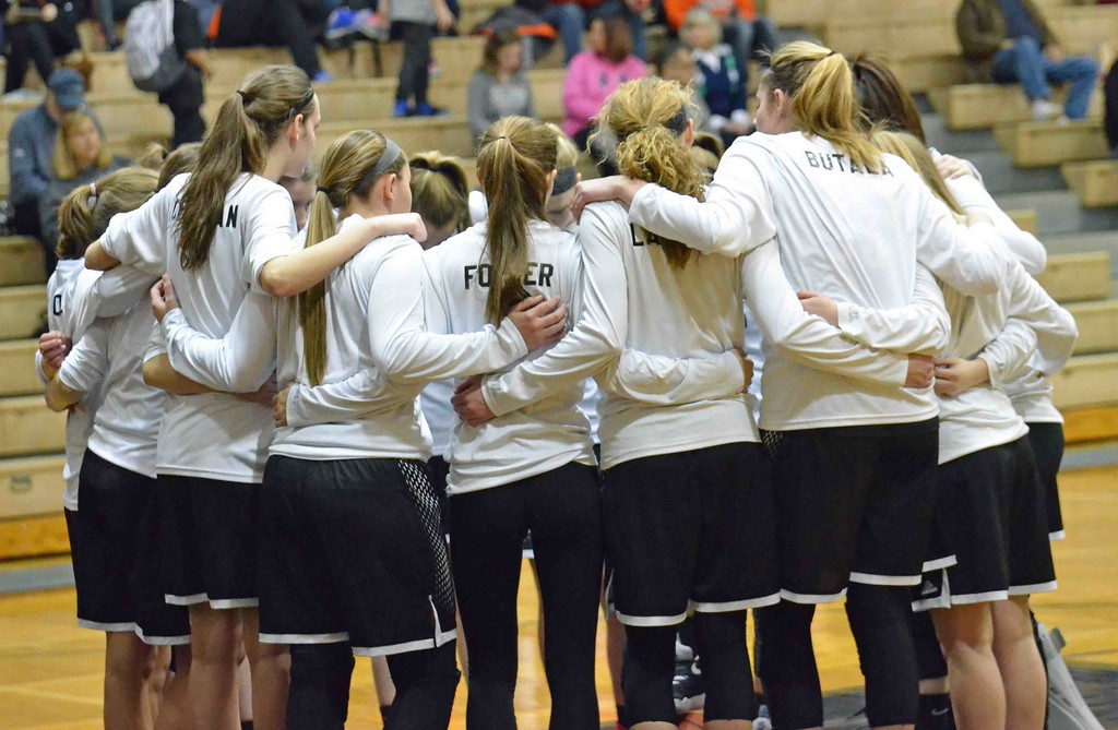 . Paul DiCicco - The News-Herald  The visiting Chardon Hilltoppers team huddle before their game against the hosting Eastlake North Rangers on Jan 28.