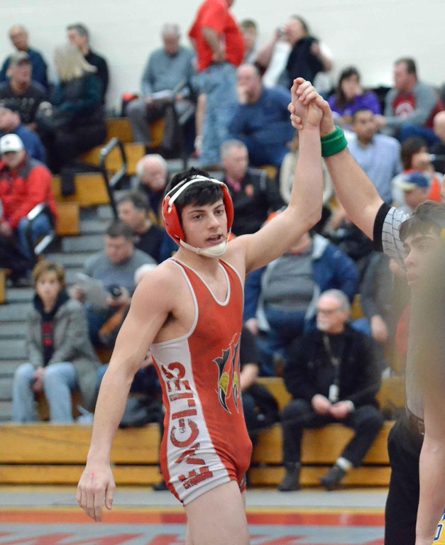 . Paul DiCicco - The News-Herald Braden Bilicic, Geneva vs Brayden Adkins, Kirtland at 145 pounds during the CVC tournament on Feb. 3 at Hawken.
