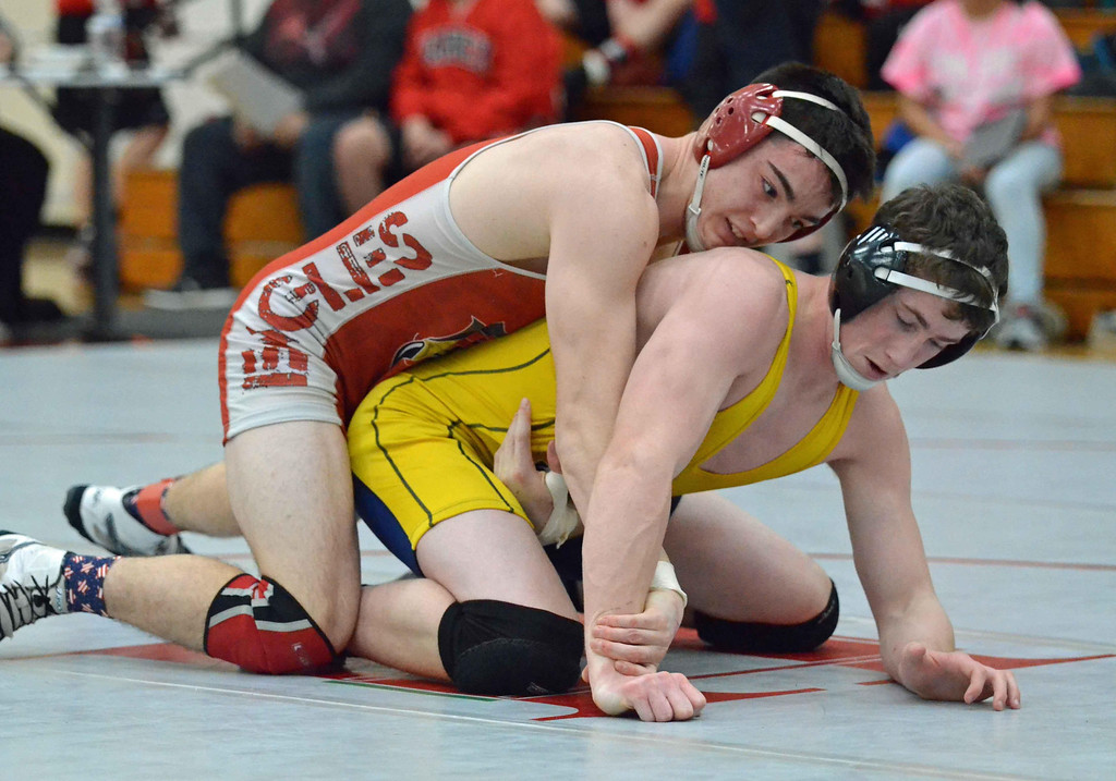 . Paul DiCicco - The News-Herald Aidan Cardaman, Geneva vs Doug Burne, Wickliffe at 170 pounds during the CVC tournament on Feb. 3 at Hawken.