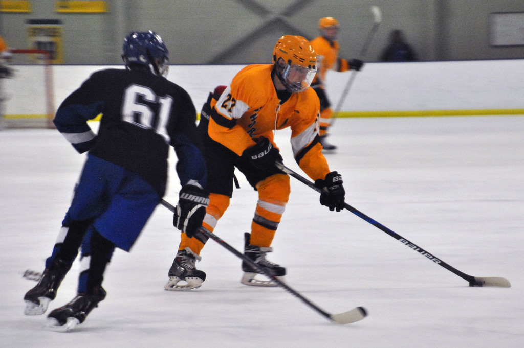 . Jon Behm - The Morning Journal Avon Lake\'s Patrick Graney works to get around CVCA\'s Noah Polanski (61) during the first period in a Baron Cup III quarterfinal matchup at Brooklyn\'s John M. Coyne Recreation Center on Feb. 6.