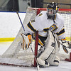 Jon Behm - The Morning Journal<br /> Olmsted Falls goalie Zach Snyder protects his post as Parma advances the puck during the second period of a Baron Cup II quarterfinal at Brooklyn's John M. Coyne Recreation Center on Feb. 7. Snyder had 36 saves in the shutout.