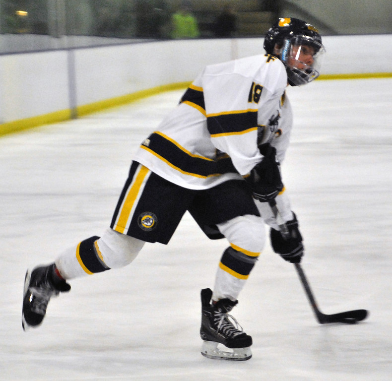 . Jon Behm - The Morning Journal Olmsted Falls senior Cam Wilson prepares to shoot the puck during the first period against Parma in a Baron Cup II quarterfinal at Brooklyn\'s John M. Coyne Recreation Center on Feb. 7.