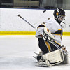 Jon Behm - The Morning Journal<br /> Olmsted Falls goalie Zach Snyder deflects a shot with his shoulder during the second period of a Baron Cup II quarterfinal against Parma at Brooklyn's John M. Coyne Recreation Center on Feb. 7. Snyder had 36 saves in the shutout.