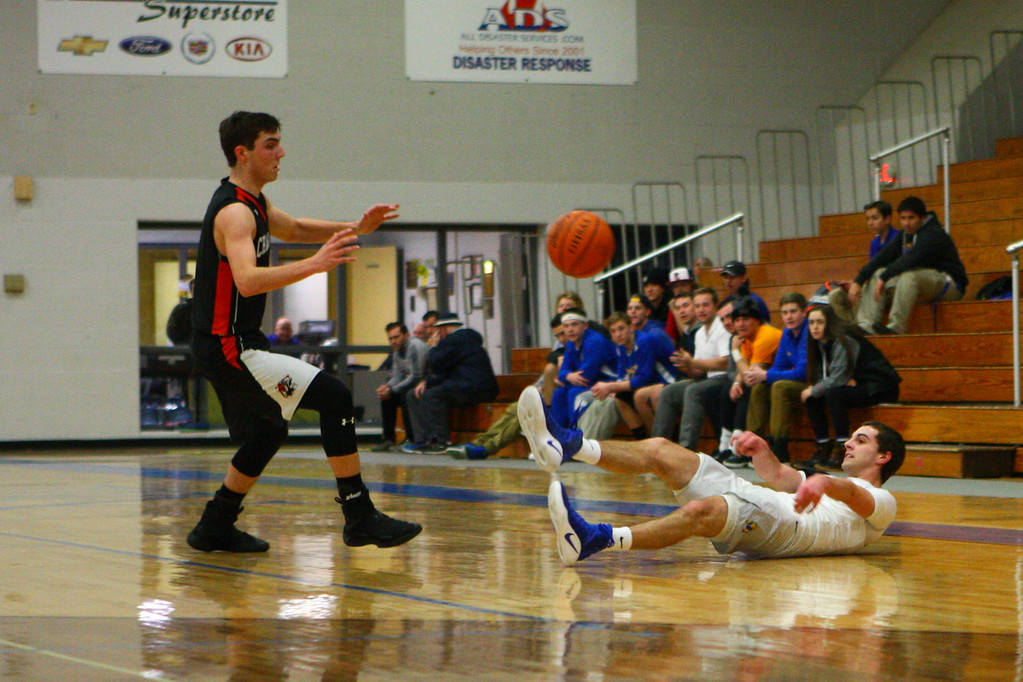 . David Turben - The News-Herald 2017 - Basketball - Chagrin Falls at NDCL - Night 2.  Chagrin Falls defeated NDCL 57-54 when play resumed the night after a power outage at NDCL had caused the game to be suspended.  NDCL\'s Ryan McMahon (2) tries to pass the ball from his back after making a steal.