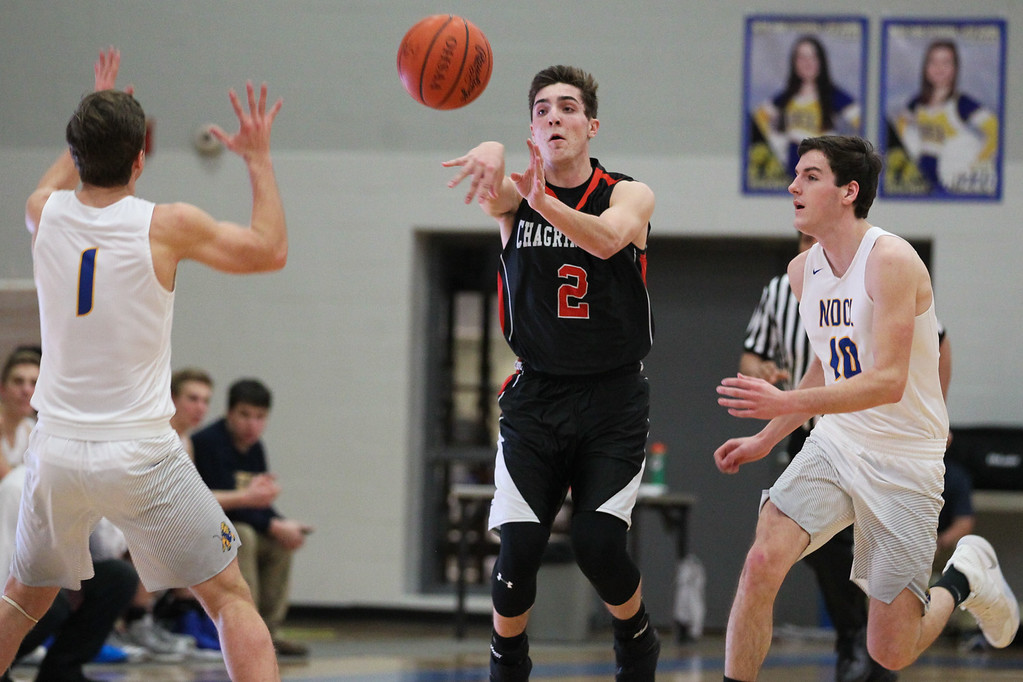 . David Turben - The News-Herald 2017 - Basketball - Chagrin Falls at NDCL - Night 2.  Chagrin Falls defeated NDCL 57-54 when play resumed the night after a power outage at NDCL had caused the game to be suspended.  Chagrin Falls\' Adam Bencko (2) makes pass up court to avoid a double-team.