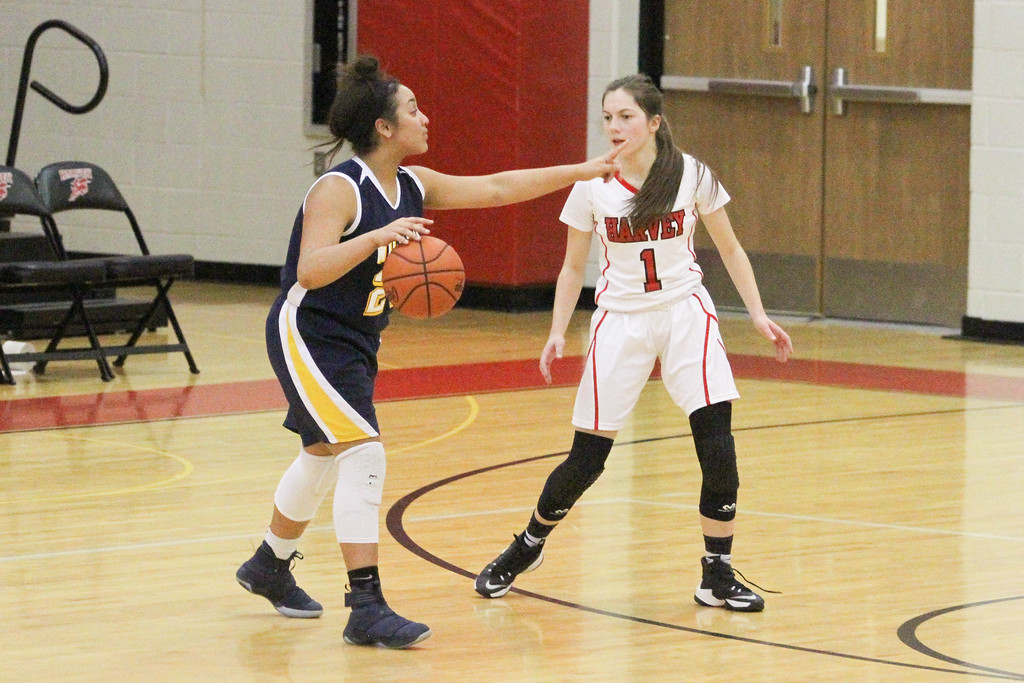 . Barry Booher - The News-Herald Wickliffe freshman point guard Stephanie Martin, directs traffic while Jillian Hach defends her.