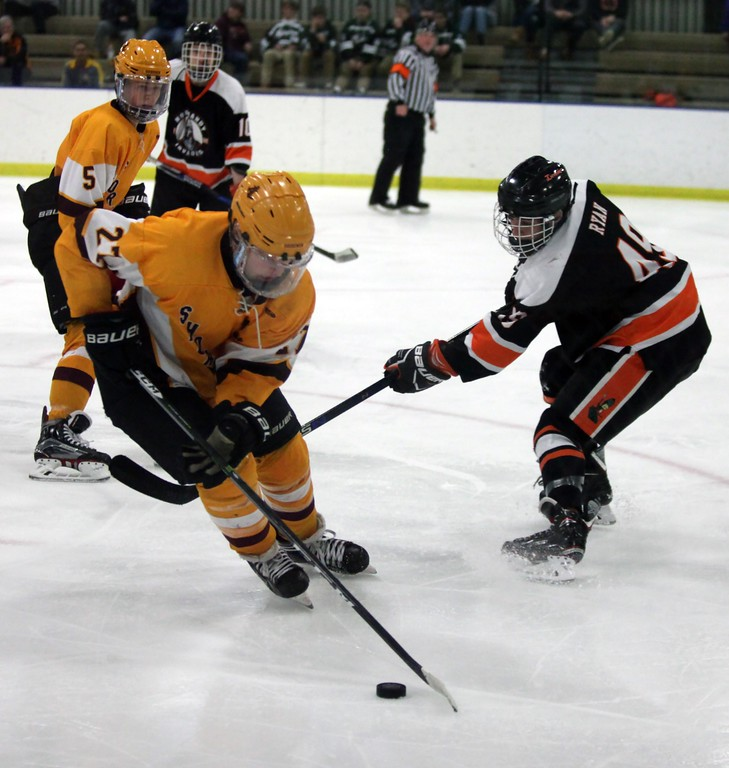 . Randy Meyers - The Morning Journal<br> Patrick Graney of Avon Lake moves the puck away from Kyle Ryan of Normandy during the Baron Cup III final on Feb. 11.