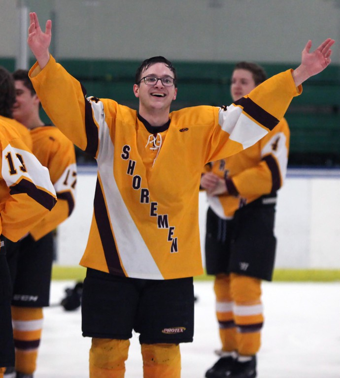 . Randy Meyers - The Morning Journal<br> Avon Lake senior Joseph Kleinhenz signals a victory to the fans in attendance after winning the Baron Cup III on Feb. 11.