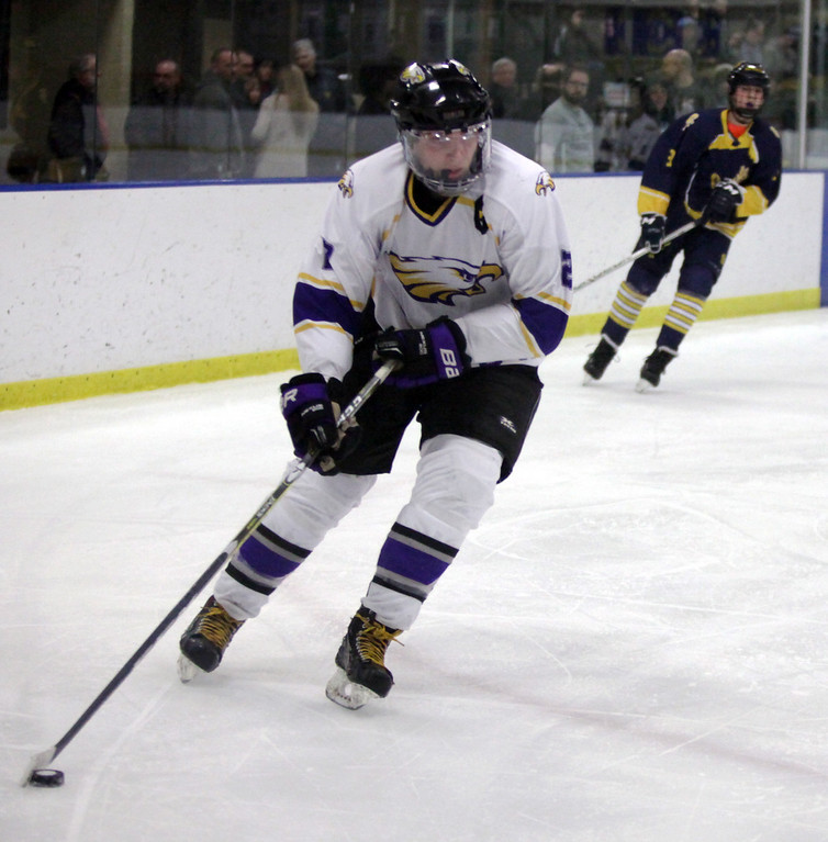 . Randy Meyers - The Morning Journal Avon\'s Shane Docherty moves the   puck towards the Olmsted Falls goal during the third period of the Baron   Cup finals on Sunday