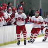 Randy Meyers - The Morning Journal<br /> Shaker Heights players celebrate  with the rest of team after they scored a first period goal against North  Olmsted at the Baron Cup finals on Sunday