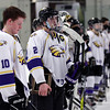 Randy Meyers - The Morning Journal<br /> A disapointed Avon hockey team   watches the tropy presentation given to the Olmsted Falls bulldogs after   they take the Baron Cup on Sunday