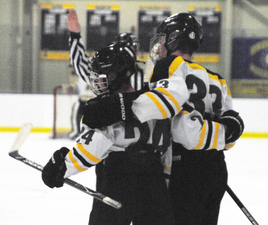 . Jon Behm - The Morning Journal<br> Amherst\'s Jacob Fekete and Tyler Waldecki celebrate Fekete\'s goal against Avon Lake during the first period of a Brooklyn District first round game on Feb. 13 at Brooklyn\'s John M. Coyne Recreation Center.