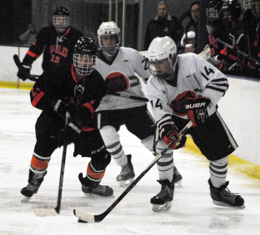 . Jon Behm - The Morning Journal<br> North Olmsted junior Riley Vertosnik works to take the puck from Padua\'s Seth Keiser during the second period of a Brooklyn District first round game on Feb. 13 at Brooklyn\'s John M. Coyne Recreation Center.
